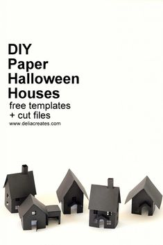 DIY Paper Halloween Houses - free templates + cut files for these easy paper Halloween houses Diy Christmas Paper Decorations, Halloween Paper Crafts, Paper Halloween, Diy Halloween Village, Pink Halloween, Halloween 2019, Templates Printable Free, Paper Templates, Kirigami Templates