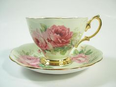 Mint Green Royal Albert  American Beauty  Tea Cup