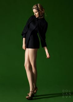 Пальто с застежкой на запонках - шерсть / Coat with velcro cuff links - wool