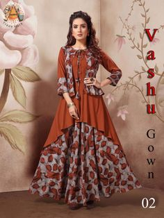 =-= VASHU GOWN=-= ‹‹››‹‹››‹‹››‹‹››‹‹››‹‹››‹‹›› ¥- design - ¥- digital print ¥- print fabric - maslim ¥- fabric - cotton reyon ¥- Size - m, l, xl, xxl. Designer Party Wear Dresses, Kurti Designs Party Wear, Indian Designer Outfits, Designer Wear, Indian Outfits, Frock Fashion, Fashion Dresses, Modest Fashion, Hijab Fashion