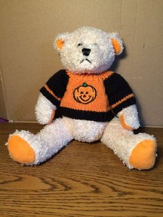 "American Greetings Plush Halloween Bear 10.5 "" Black/Orange Sweater #AmericanGreetings #Halloween"