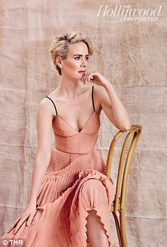 Take a seat: Sarah Paulson (American Horror Story) and Constance Zimmer (UnREAL) wowed in pastel shades for the cover shoot