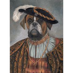 Bulldog Art Print Baron Von Bullenbeiszer door OldWorldPetPortraits