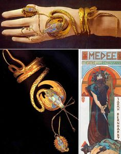 This is the snake bracelet and ring set designed by Mucha and Fouquet for Sarah Bernhardt Art Nouveau Jewelry, Jewelry Art, Jewelry Design, Jewellery, Snake Bracelet, Hand Bracelet, Alphonse Mucha, Ancient Jewelry, Victorian Jewelry