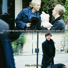 """""""What do you think, Sherlock? Should we take him with us?"""" - Mary, John and #Sherlock"""