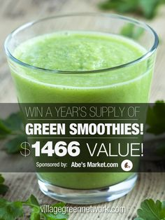 Enter to win a year's supply of green smoothies from Abe's Market -- a $1,466.00 value! Click here: http://villagegreennetwork.com/abes-market-year-supply-smoothies-giveaway/