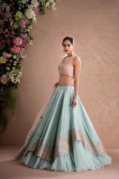 Latest Designer Wedding Lehenga Designs for Indian Bride Sky Blue Layered Embroidered Designer Lehenga Choli Indian Lehenga, Indian Gowns, Pakistani Dresses, Red Lehenga, Lehenga Style, Diwali Dresses, Indian Wear, Designer Bridal Lehenga, Bridal Lehenga Choli