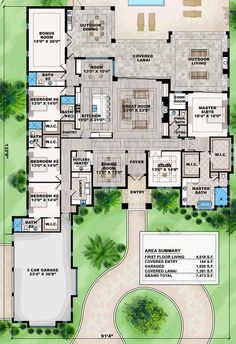 Coastal Contemporary Florida Mediterranean Level One of Plan 75967