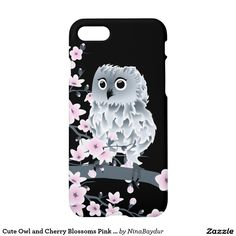 Cute Owl and Cherry Blossoms Pink Black iPhone 7 Case
