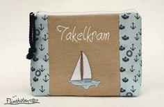 Kosmetiktäschchen -Takelkram-maritim m.Stickerei von FLINTHOLM   auf DaWanda.com