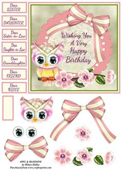 Owl Blossom on Craftsuprint designed by Hilary Hallas - A 6x6 card front with extra layers and choice of sentiment tags featuring a pretty frame with bow, owl and blossom decoration. Matching insert available separately. - Now available for download!