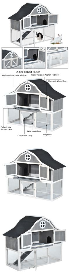 Cages and Enclosure 63108: 59 Wooden Rabbit Hutch 2-Story Small Animal Pet Poultry Hen House Cage W Run -> BUY IT NOW ONLY: $179.99 on eBay!
