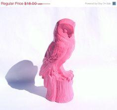 SALE Pink Ceramic Owl  painted bubblegum pink  by MandolinGoose, $14.94