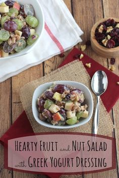 SO GOOD! A refreshing fruit salad with a luscious Greek yogurt dressing! Filled with hearty grains and loaded with protein! Quick and easy! Great for lunch, as a side dish, or as an exciting twist on overnight oats!