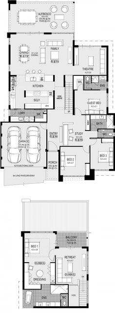 House design plans families layout New Ideas Best House Plans, Dream House Plans, House Floor Plans, House Plans 2 Storey, Double Story House, Planer Layout, House Blueprints, Display Homes, Home Design Plans