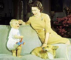 The Queen with her son Prince Edward and pet Corgi at Windsor Castle, in 1965