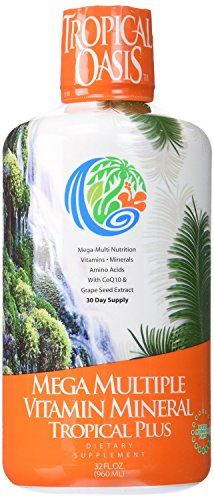 Tropical Oasis Mega Plus  Liquid Multivitamin and Mineral Supplement  Includes 85 Vitamins  Minerals 20 Amino Acids  CoQ10 Grape Seed Extract  Organic Aloe Vera  32oz 32 servings >>> Want additional info? Click on the image.