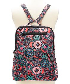 Pink Floral Medallion Geometric Quilted Backpack