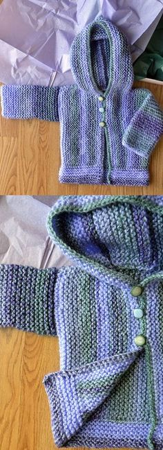 Free Knitting Pattern for Baby Cardigans - Easy garter stitch hoodie baby cardigan knitting pattern - Baby Cardigan Knitting Pattern Free, Free Baby Blanket Patterns, Hoodie Pattern, Easy Knitting, Baby Knitting Patterns, Knit Baby Sweaters, Knitted Baby Blankets, Stitch Hoodie, Cardigan Bebe