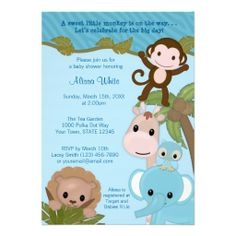Adorable baby shower invitation in a safari/jungle theme, perfect for a BOY in blue.