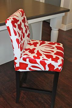 Red Painted Leather Barstool