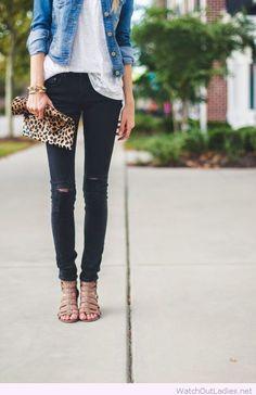 Black jeans, grey tee and denim jacket