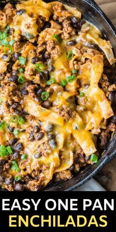 One Pan Enchiladas + Video - Maebells This super easy One Pan Enchilada dish will become a family favorite! Ground beef, black beans, a flavorful enchilada sauce, tortillas and cheese come together for a simple one pan, 20 minute meal! Healthy Ground Beef, Ground Beef Recipes For Dinner, Dinner With Ground Beef, Ground Beef Recipes Skillet, Dinner Recipes, Easy Casserole Recipes, Beef Casserole, Ground Beef Enchiladas, Skillet Enchiladas