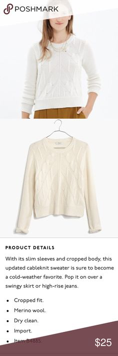 """🎉NWOT Madewell Chevron Crop Sweater Gorgeous sweater, but runs small! Tag says S, but fits like xxs/xs. 100% merino wool, purchased NWOT and haven't worn! Measures approx. 19"""" long down the back, 17"""" across armpits, 15"""" shoulder to shoulder seam. 🎉casual cool HP🎉 Madewell Sweaters"""