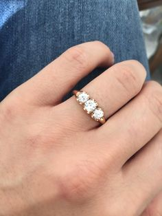 Antique Three Stone Yellow Gold Engagement Ring. The Charlotte ring from Victor Barbone Jewelry!