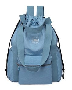 Crest Design Water Repellent Nylon Multipurpose Backpack Crossbody Shoulder Bag Large Sky Blue *** Continue to the product at the image link.Note:It is affiliate link to Amazon. #GYM