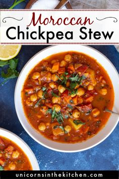 Moroccan Chickpea Soup, Moroccan Stew, Chickpea Stew, Chickpea Recipes, Vegetarian Recipes, Healthy Recipes, Tofu Recipes, Moroccan Vegetables, Harissa Chicken