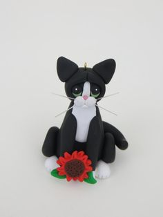 Polymer Clay Black and White Tuxedo Cat by HeartOfClayGirl on Etsy, $16.95