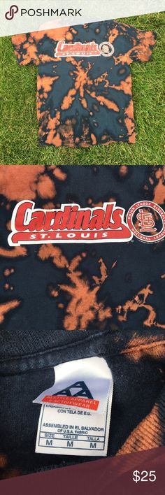 Cardinals Tshirt⚾️ Cute bleach dyed Cards baseball t-shirt... perfect for any cardinals fan!😘 Fits very true to a size medium. All offers will be considered!! Tops Tees - Short Sleeve
