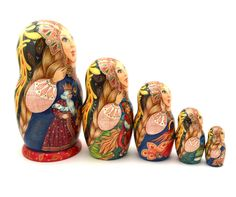 Firebird Fairytale Unique Russian Hand Carved Hand Painted Nesting DOLL Set in | eBay
