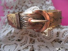 Antique Enameled Buckle Bangle Bracelet