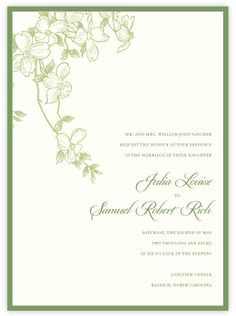 Paperwhite Press Dogwood invitation. but do i want more formal?