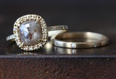 Amazon.com: One of a Kind Natural Grey Diamond Ring with Pavé Halo: Handmade