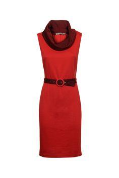 Rood kleed met gedrapeerde hals - Levering in België bij e5 mode