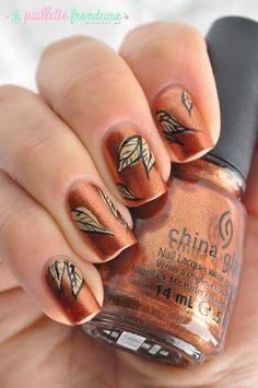 Fall Nail Art Leaves #fall #nails #fallnails