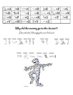 """Engage your students into Ancient Egypt with this Pun-tastic Worksheet! Included on the page is a full Hieroglyphic Alphabet to reference, the lead of a joke written in English (""""Why did the Mummy go to the doctor?""""), and the punchline of the joke writte Egyptian Crafts, Egyptian Party, Worksheets For Kids, Printable Worksheets, Egyptian Alphabet, Ancient Egypt For Kids, Horrible Histories, Magic Treehouse, History For Kids"""