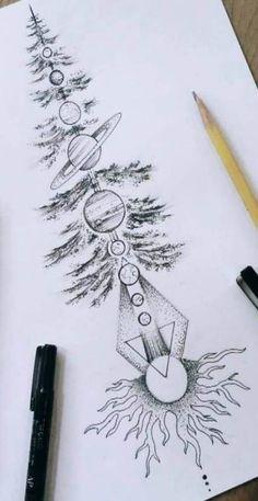 Tattoos with nature and planets - - art - Tattoo Designs - Tatoo Ideen Natur Tattoos, Kunst Tattoos, Bild Tattoos, Body Art Tattoos, Forearm Tattoos, Great Tattoos, Trendy Tattoos, New Tattoos, Tatoos