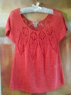LUCKY BRAND LINEN M KNIT TOP CORAL TRIBAL GEOMETRIC DESIGN CAP SLEEVES SUMMER #LuckyBrand #KnitTop #Casual