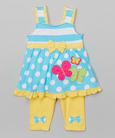 Look at this #zulilyfind! Blue Butterfly Tunic & Leggings - Infant, Toddler & Girls by Nannette Girl #zulilyfinds