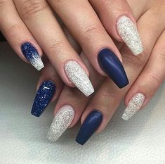 Nails silver 35 Navy Blue Nail Ideas You May Not Have Tried - Page 22 Of 35 . 35 Navy Blue You May Not Have Tried - Page 22 of 35 nail ideas navy blue - Nail Ideas Blue And Silver Nails, Royal Blue Nails, Dark Blue Nails, Blue Glitter Nails, Silver Glitter, Navy Nail Art, Navy Nails, Blue Coffin Nails, Blue Acrylic Nails