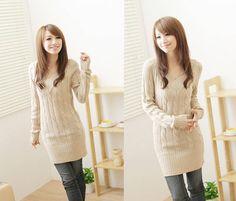 Long Sleeve Long Waist V-Neck Wool Knit Sweater