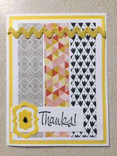 Handmade sentiment featuring yellow accents, a black teardrop gem and the word Thanks. Cards are individually handmade, so small differences may vary per card. Inside is blank. Envelope included.   Inked Love Greeting Cards a product by Give A Yarn Crafts For questions, please email me at giveayarn@gmail.com   or visit me on Facebook at Give A Yarn Crafts    thanks, thank you, greeting card, handmade, hand stamped, paper card Save