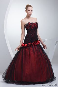 Red with black tulle color wedding dress strapless. Custom from 30+ colors and any sizes by GemGrace's affordable solution, pro since 2009.