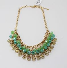 Charter Club Gold-Tone Blue and Green Shaky Bead Frontal Necklace  #CharterClub