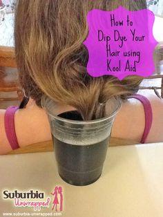 how to dip dye your hair using kool aid