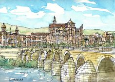 Cordoba Bridge Spain art print from an original by AndreVoyy, $15.00